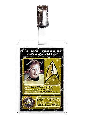 Star Trek Original Series James T Kirk ID Sc fi Badge Cosplay Costume Comic Con