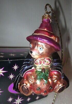 Poland Halloween Costumes (Radko Halloween Bear in Witch Costume Holding Pumpkin JOL Ornament+Box MIB)