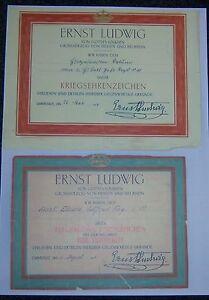 GERMAN-HESSEN-2-x-Medal-Award-Certs-War-Medal-General-Award-for-Valour