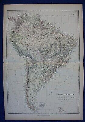 SOUTH AMERICA, BRAZIL, CHILE, ARGENTINA, PERU original antique map, Blackie 1884