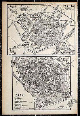 FAENZA + FORLI, alter Stadtplan, datiert 1896