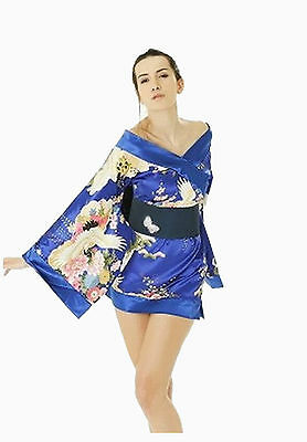 Sexy Oriental Geisha Girl Blue Print Fancy Dress Costume Party Outfit  8-16](Geisha Halloween Outfit)
