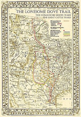 """The Lonesome Dove~Comanche Moon~Great Trails Map 36""""x24"""