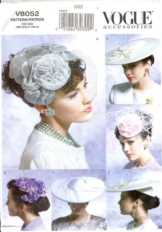 PATTERN for Vogue Accessories Hats 40s 50s 8052 Hat Making Millinery Fascinators