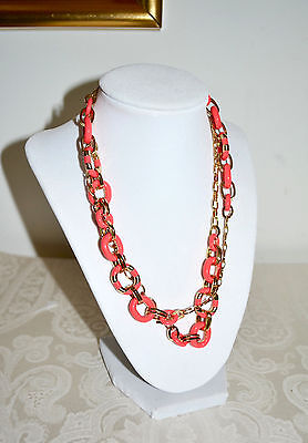 """NWT$148 KATE SPADE """"Mod Moment"""" Striped Chain Link Necklace Geranium Red"""