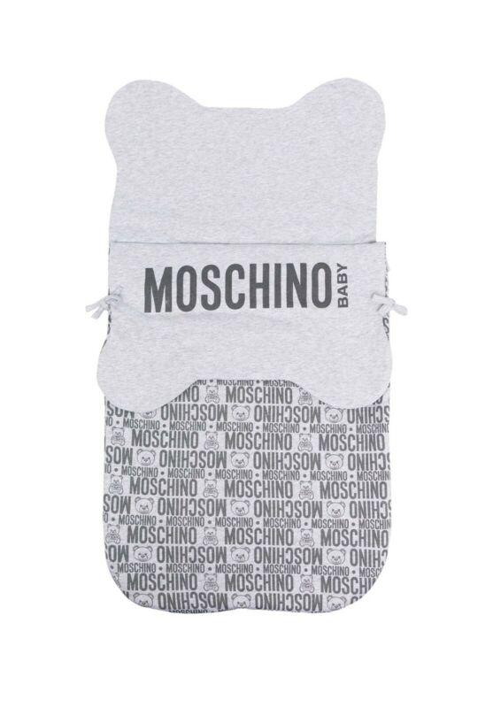 MOSCHINO LOGO PRINT GRAY BABY SLEEPING BAG NWT