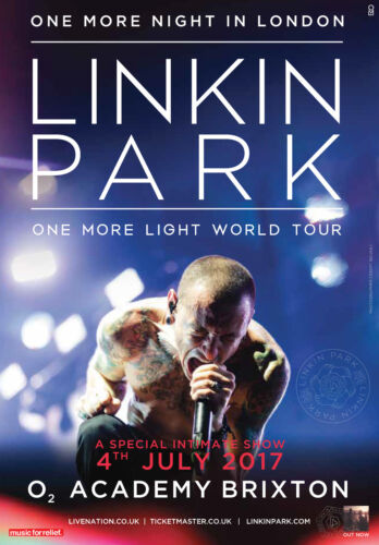 """LINKIN PARK """"ONE MORE NIGHT IN LONDON"""" 2017 UK CONCERT TOUR POSTER - Nu Metal"""