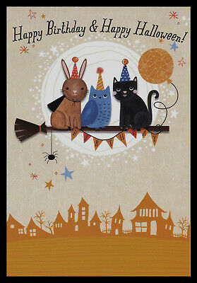 1051-MSA Bird Cat Kitten Owl Rabbit Birthday And Halloween Greeting Card NEW