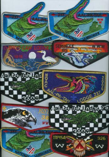 Lot Of 10 MINT Older Boy Scout OA Florida Lodge Flaps (85, 237, 326, 265, 385)