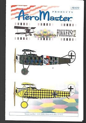 AeroMaster Incredible Fokkers Part 2 Decals AN48612 German World War I Fighter
