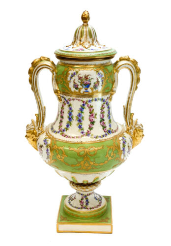 Sevres France Hand Painted Porcelain Double Handled Footed Urn, circa 1900