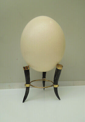 Genuine Springbok Horn and Brass Ostrich Egg Stand Small South African