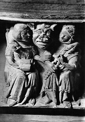 Ely Cathedral Misericord The Devil And Two Women, England Vtg Gordon Fraser RPPC