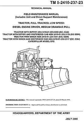Bulldozer Caterpillar Model D7g Maintenance Manual
