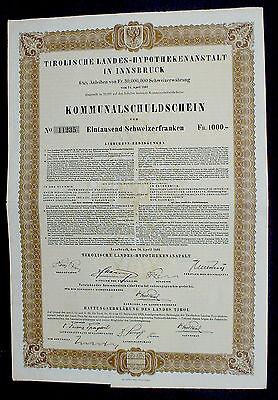 Austrian Government 6 1/2% Municipality Gold Loan of 1000 Swiss Francs uncanc.