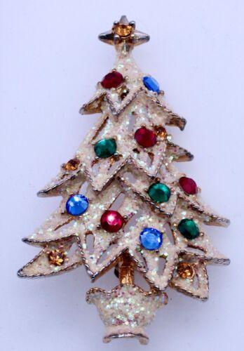 Eisenberg Ice Signed Christmas Tree Brooch Pin Colored Rhinestone White Glitter