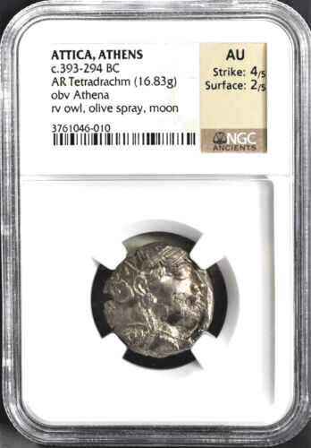 NGC CERTIFIED ATTICA, ATHENS, ANCIENT SILVER ATHENA TETRADRACHM