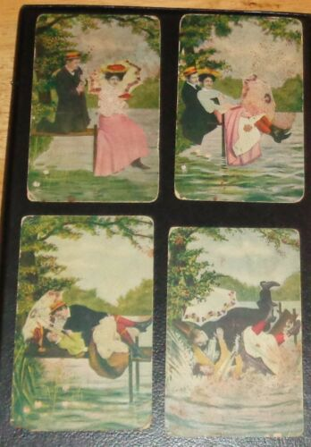 RARE 4 Pc Lot Series Antique Risque Post Cards Lovers On A Dock