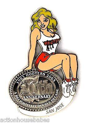 HOOTERS RESTAURANT 20th ANNIVERSARY GIRL SAN JOSE LAPEL BADGE PIN