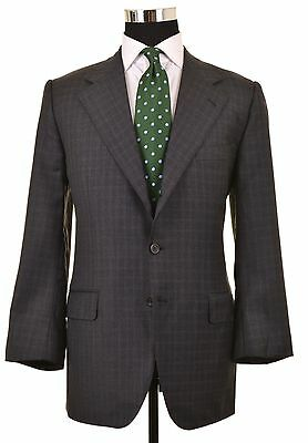 Enrico Isaia Gray Wool Blue Graph Check 2pc Suit Jacket Pants 52 42 S