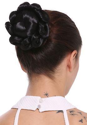 Haarteil Haarknoten Dutt Haarrose aufwendig geflochten Tracht Hochzeit schwarz