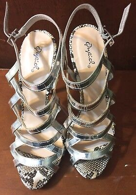 9 Inch High Heels (New QUPIOL Women Silver Leopard Print Strappy High Heel 51/2inches size 9)