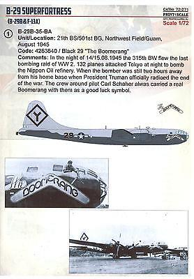 Print Scale Decals 1/72 BOEING B-29 SUPERFORTRESS American WWII (Boeing B-29 Bomber)