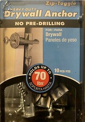 Zip Toggle Heavy Duty Drywall Anchor Holds Up To 70 Pounds New 10pcspk 4pks