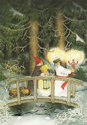 Kunstkarte: Inge Löök - Frauen tragen Kerzen durch den Wald / Nr. 51