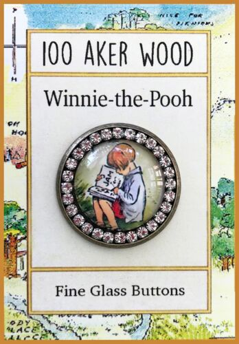 CHRISTOPHER ROBIN Glass Dome Rhinestone BUTTON Reading Book to Winnie the Pooh
