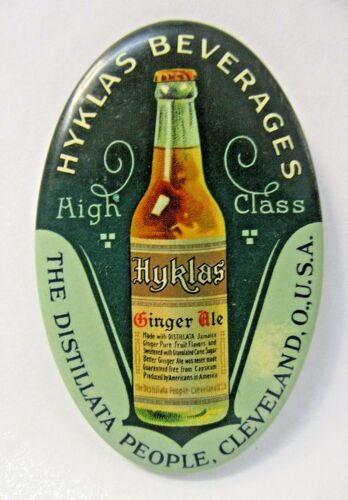 c.1910 HYKLAS BEVERAGES GINGER ALE Soda Cleveland OHIO celluloid pocket mirror *