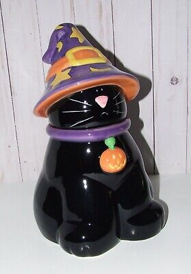 Harry And David Halloween Black Cat Cookie Jar In Witches Hat w/ Box