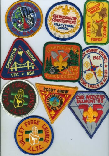 Lot Of 10 Older Boy Scout Valley Forge Council Patches