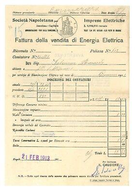 SOCIETA' NAPOLETANA IMPRESE ELETTRICHE 4 FATTURA ENERGIA ELETTRICA 1913 NAPOLI