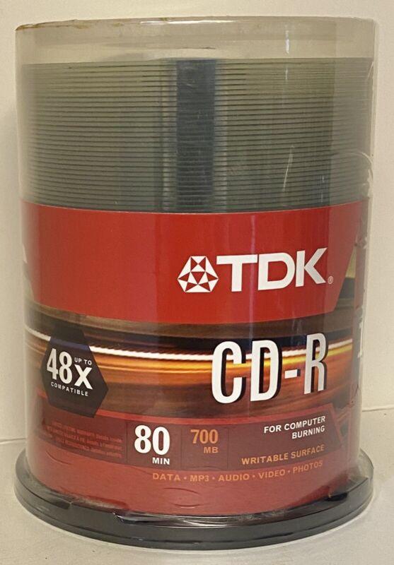 Brand New Sealed TDK CD-R Blank Recordable Disc CD 700 MB 80 min 48x 100PK