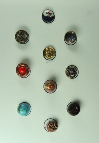 CARD OF 10 ANTIQUE DIMINUTIVE BUTTONS ~ ENAMEL MOP GLASS METAL PICTURE WAISTCOAT