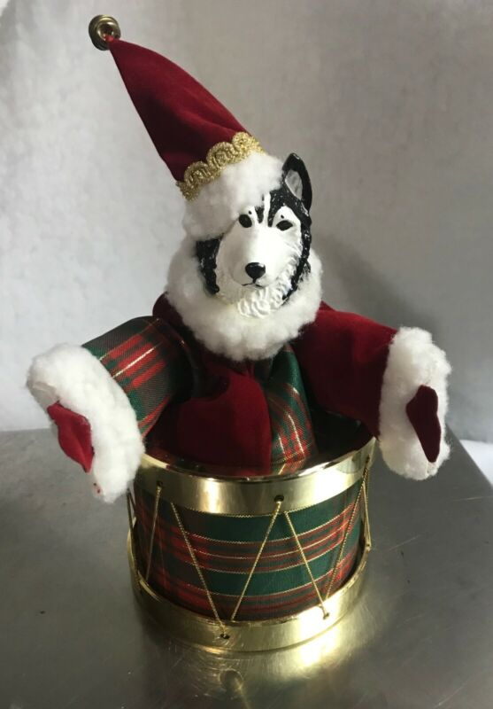 Alaskan Malamute Christmas Music Box Decoration