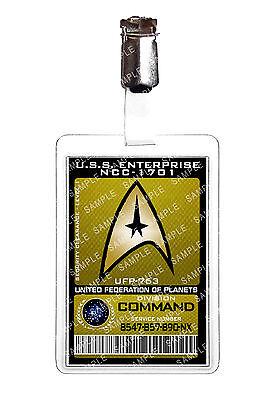 Star Trek Command Division Starfleet ID Badge Cosplay Prop Costume Comic Con