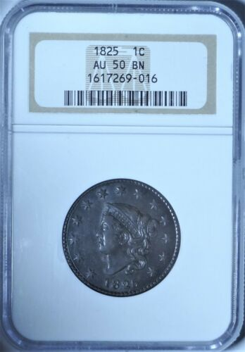 1825 1c NGC AU 50 Almost Uncirculated Early Copper Coronet Head Large Cent Coin