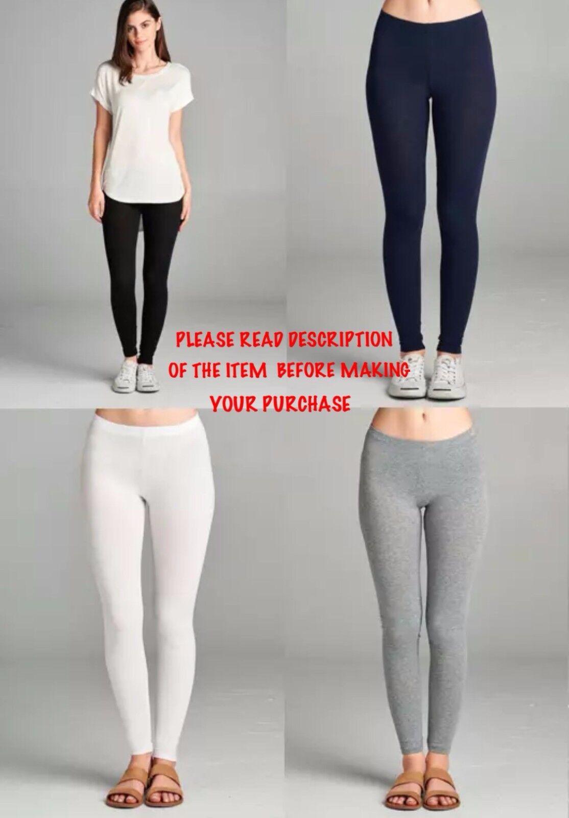 Leggings - Basic Full-Length Cotton Spandex Stretch Leggings Yoga Active Pants