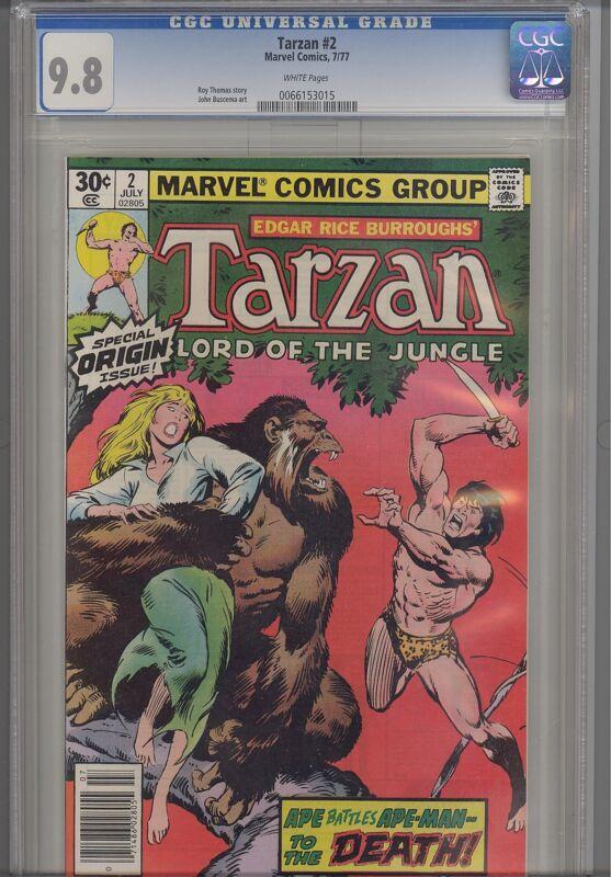Tarzan #2  CGC 9.8 1977  Marvel  Comic: Origin issue... White Pages