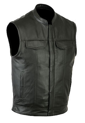 SOA men's Anarchy high quality soft Leather Vest Outlaws Mot