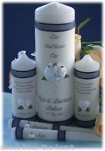 Personalised 3D 5 Piece Set Unity Candle Wedding BRIDAL Ceremony customised