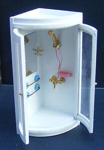 1:12 Scale Wooden Corner Shower Unit Dolls House Miniature Accessory 117