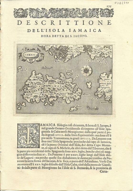 Antique maps, Iamaica [Porcacchi, 1576]