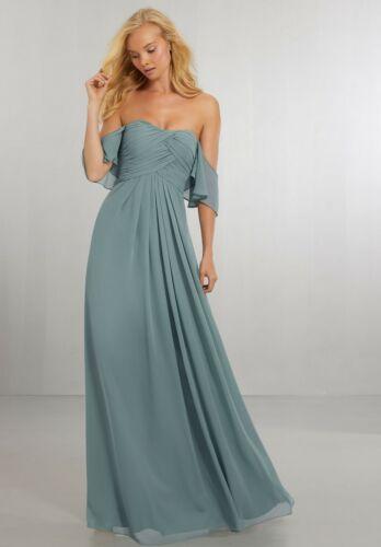 Morilee Madeline Gardner 8 Boho Chic Off Shoulder Bridesmaid Dress Deep Sea Blue