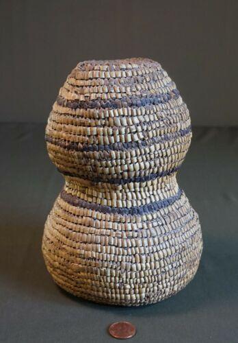 Rare & Unusual Early 1900 Native American Salish Fully Imbricated Jar Basket