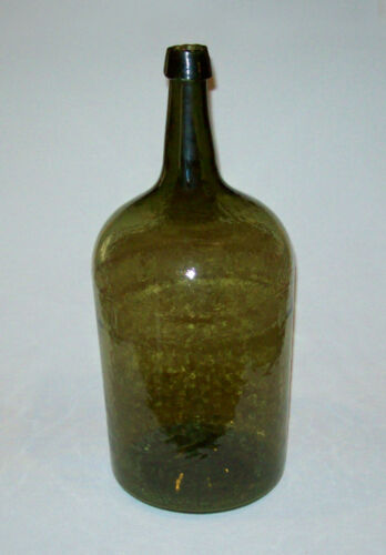 Antique Vtg 19th C 1840s Large Medium Olive Green Demi John Bottle Open Pontil