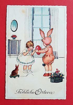 Glückwunsch AK OSTERN 1928 Kinder Osterhasenkostüm   - Osterhasen Kostüme Kinder