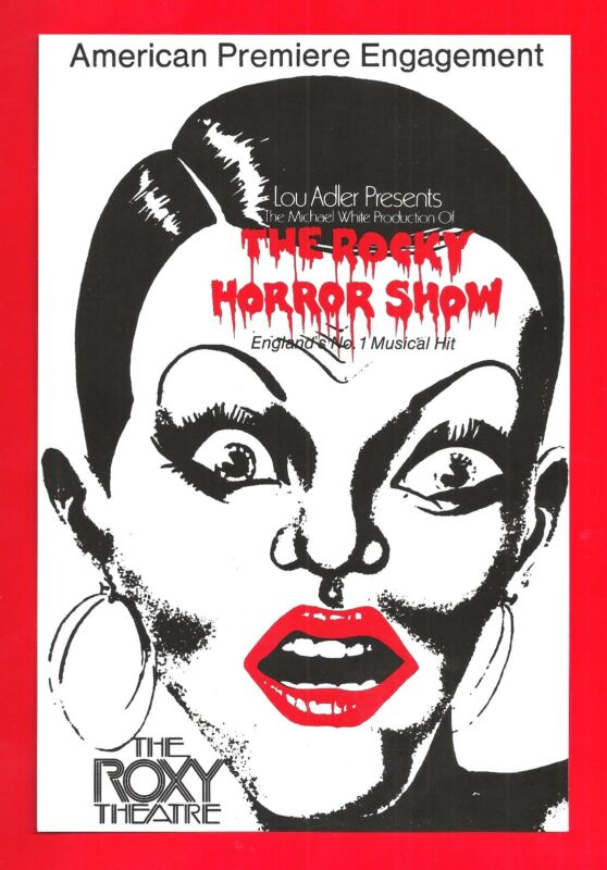 """Tim Curry """"ROCKY HORROR SHOW"""" Meat Loaf / American Premiere 1974 Roxy Flyer"""